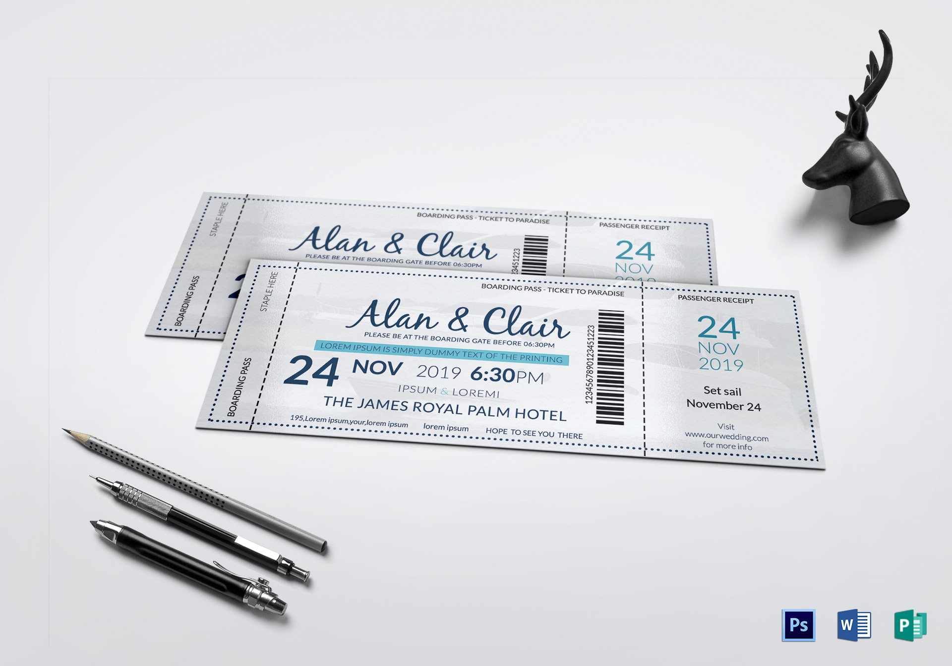 Boat Boarding Pass Invitation Ticket Design Template in PSD, Word ...