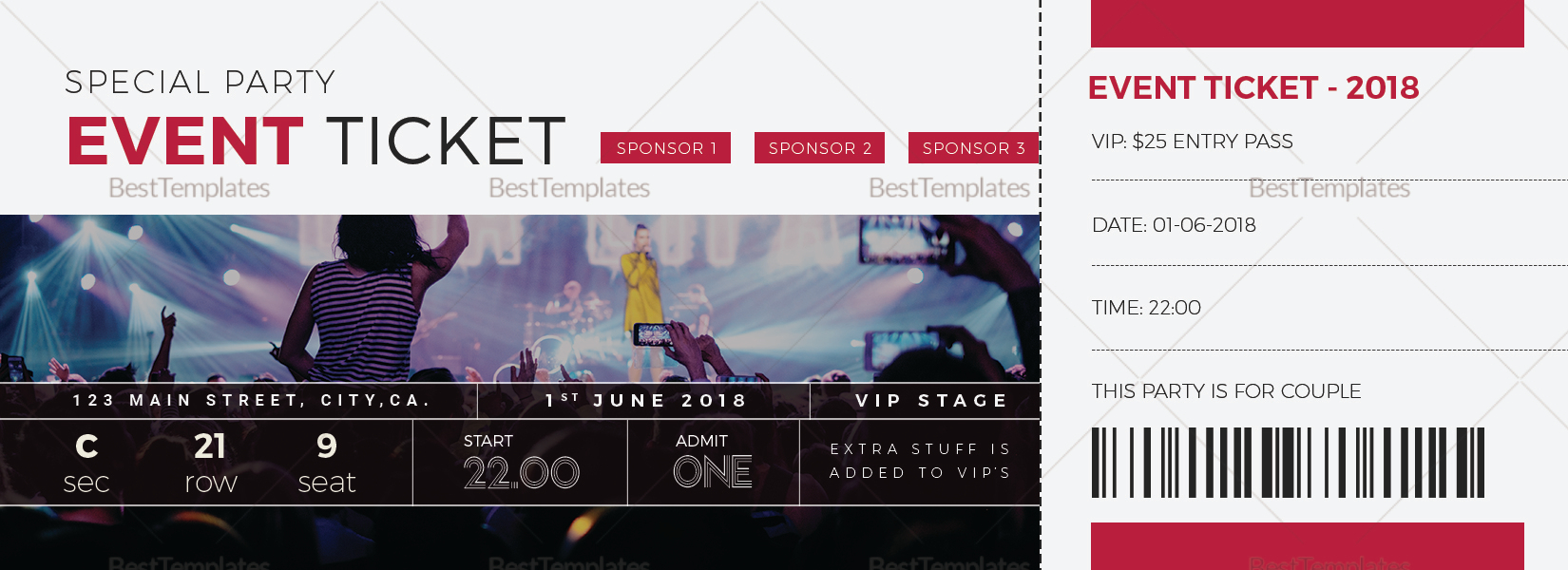 special event ticket design template in word psd pages publisher