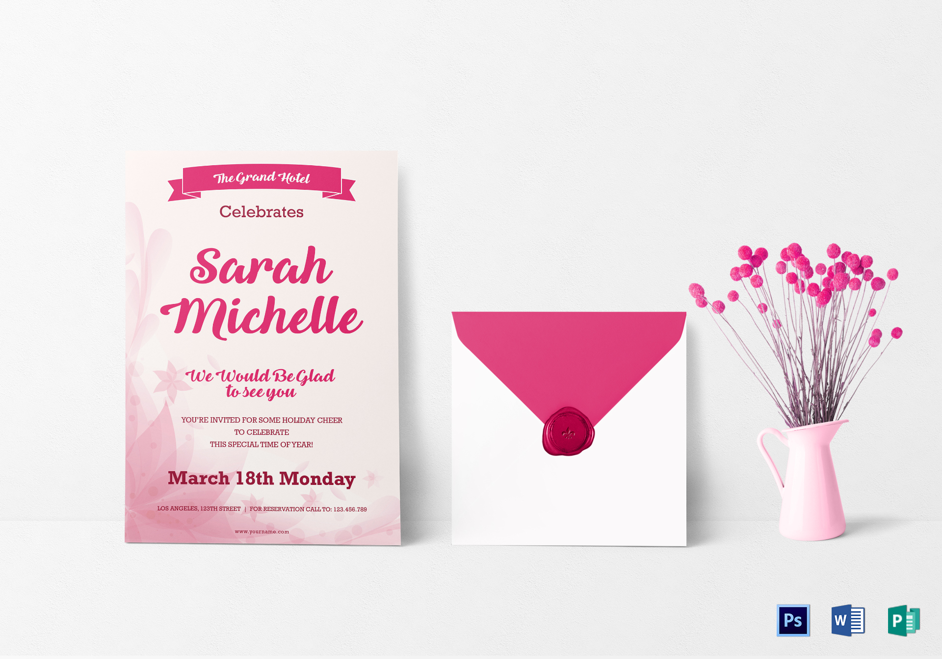 Elegant debut invitation card design template in word psd publisher elegant debut invitation card template stopboris Images