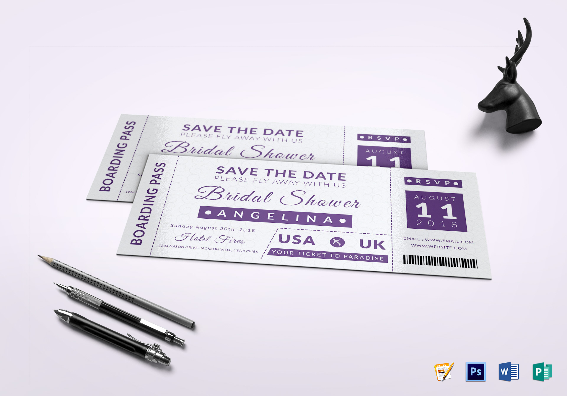 bridal shower boarding pass ticket design template in psd word