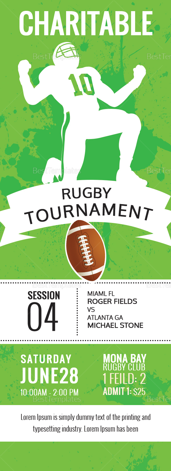 Rugby Tournament Ticket Design Template