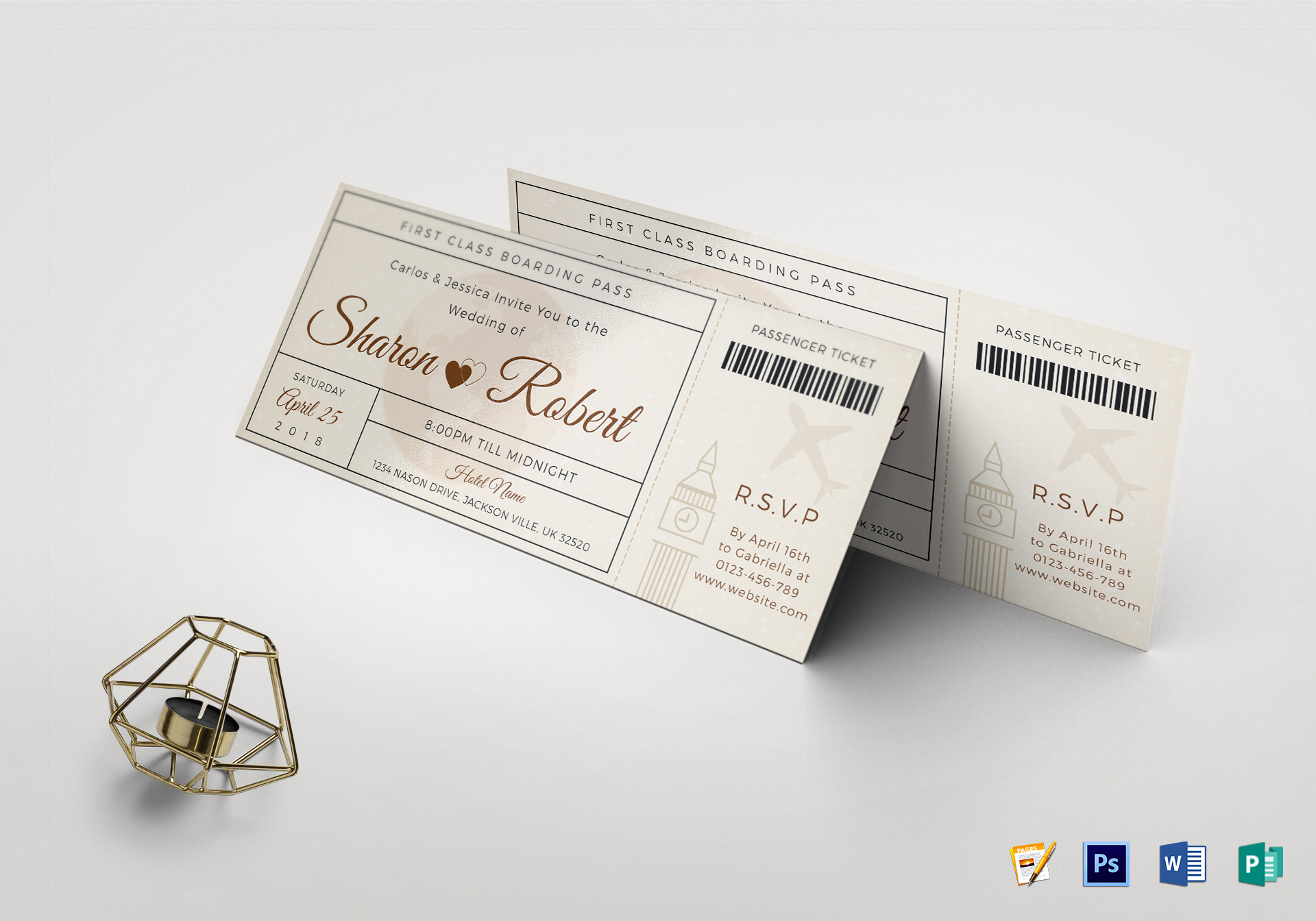 Wedding Boarding Pass Invitation Ticket Design Template In Psd Word Publisher Pages