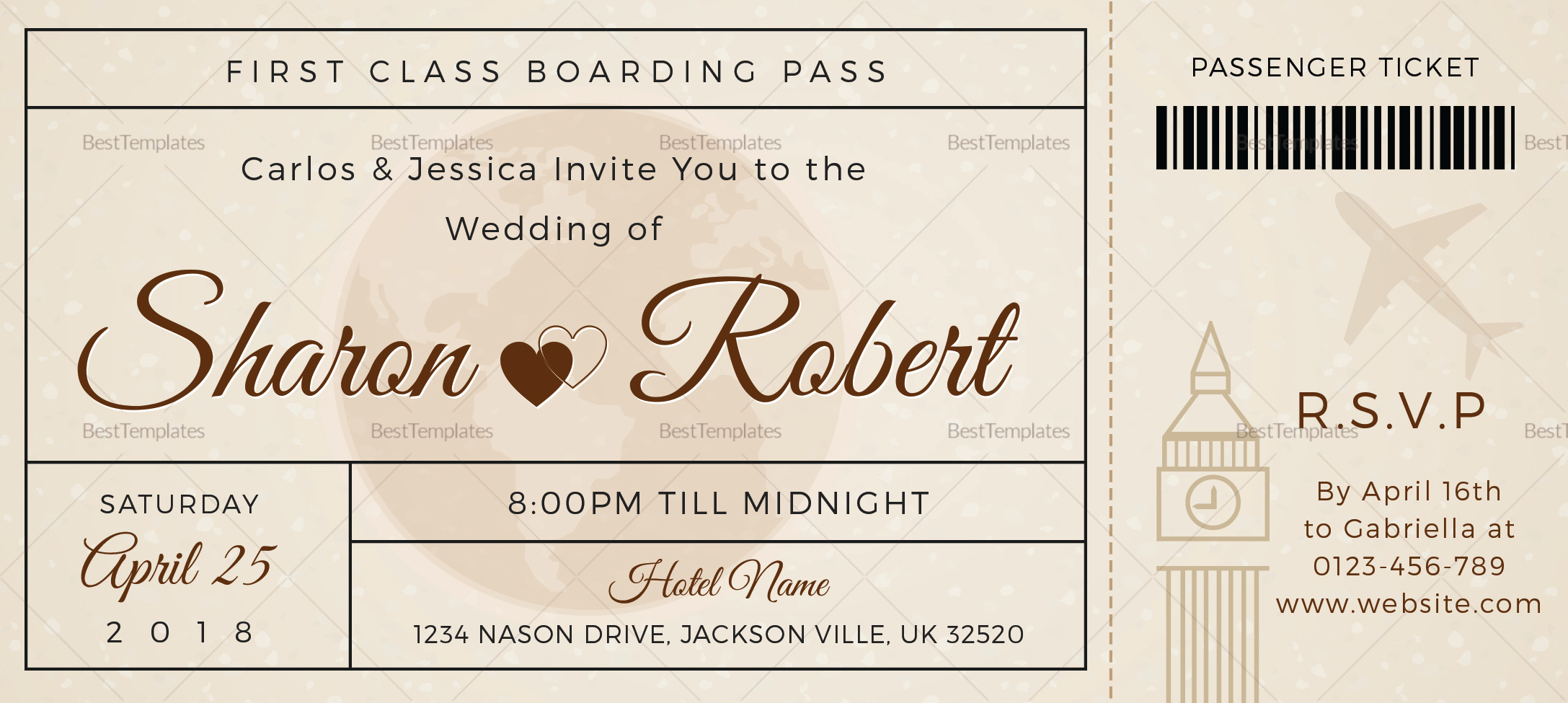 Boarding Pass Wedding Invitations Template: Wedding Boarding Pass Invitation Ticket Design Template In