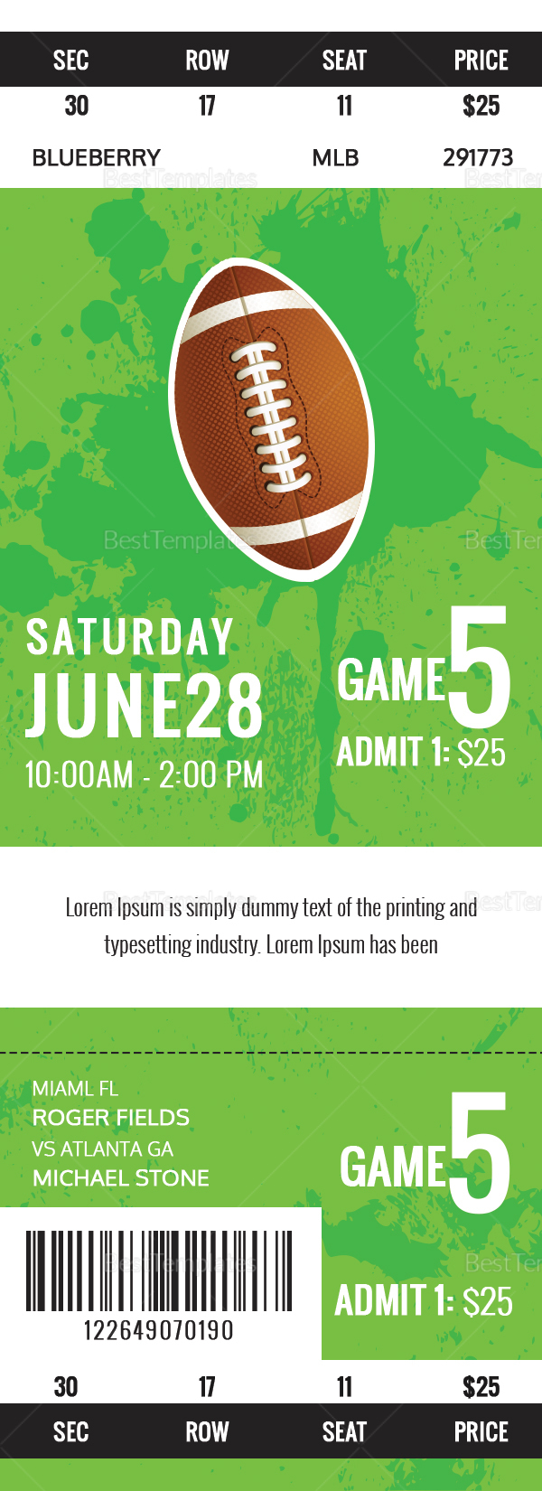 Rugby Game Ticket Design Template