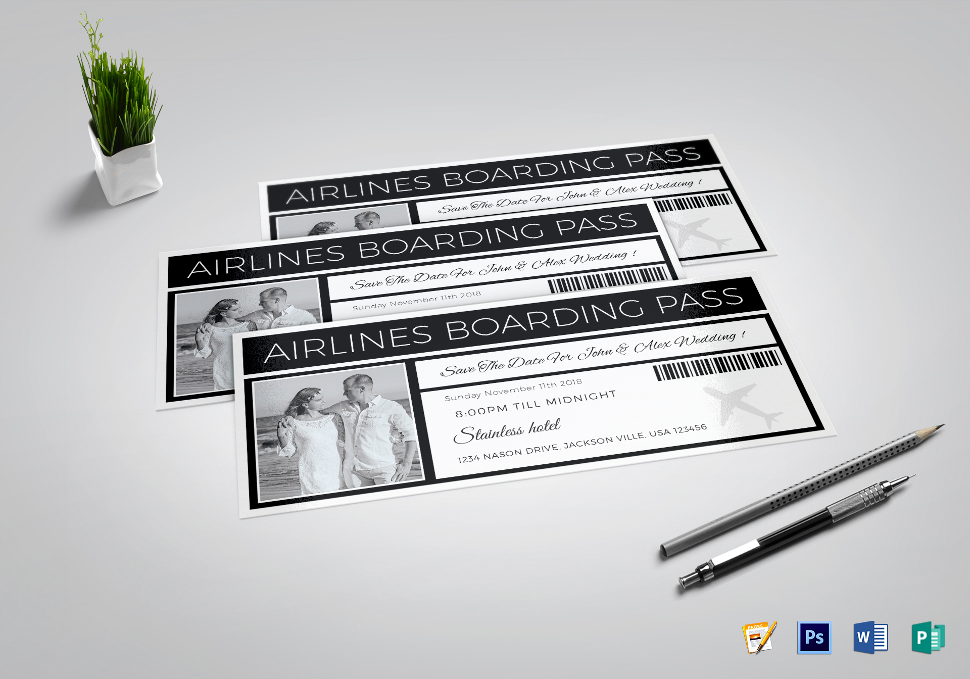 save the date boarding pass ticket design template in psd word