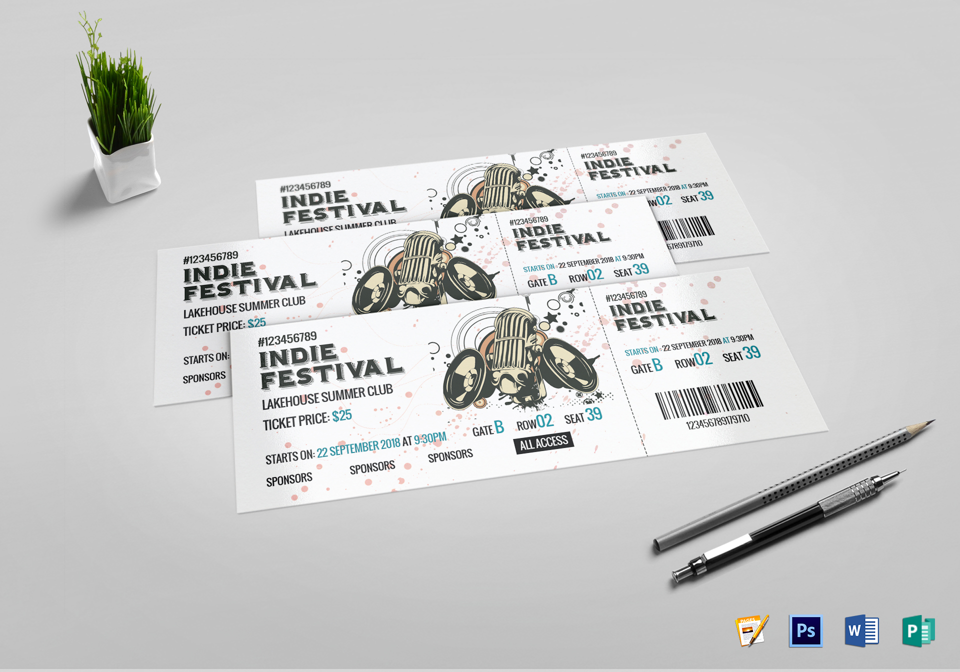 festival concert ticket design template in psd word publisher pages