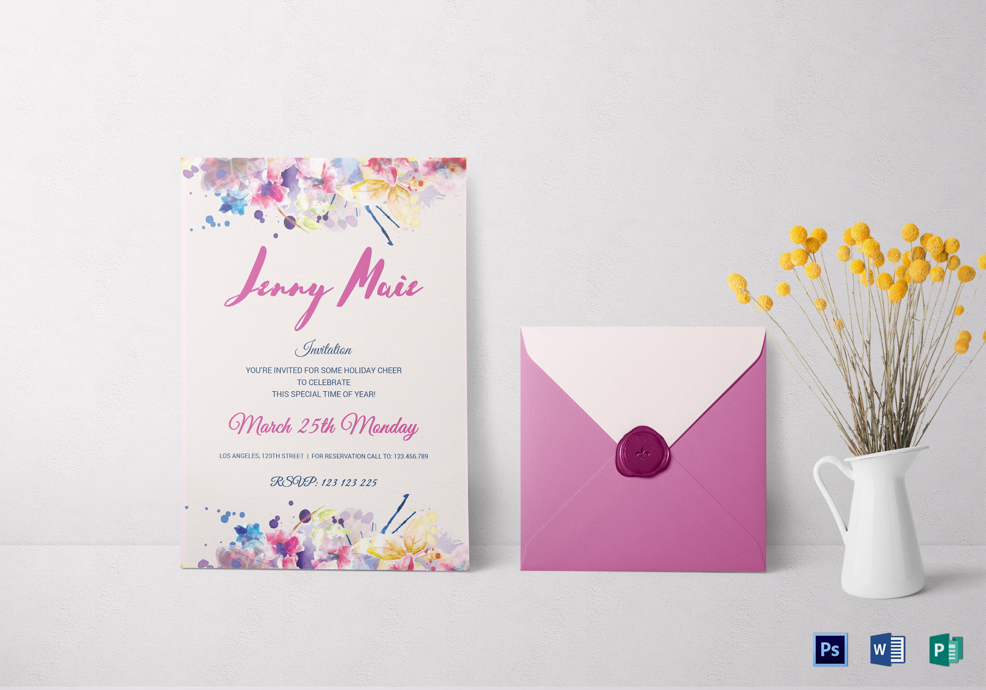 Floral Watercolor Debut Invitation Template