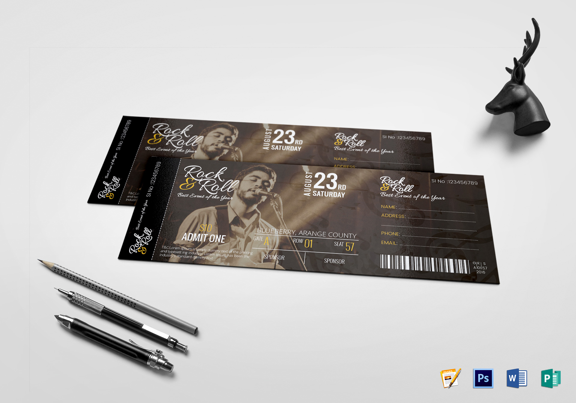 musical concert ticket design template in psd word pages publisher