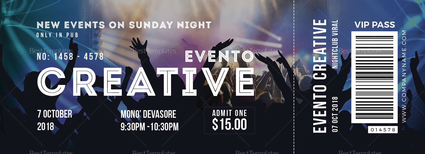Live Event Ticket Template; Live Event Ticket Design Template  Event Ticket Template