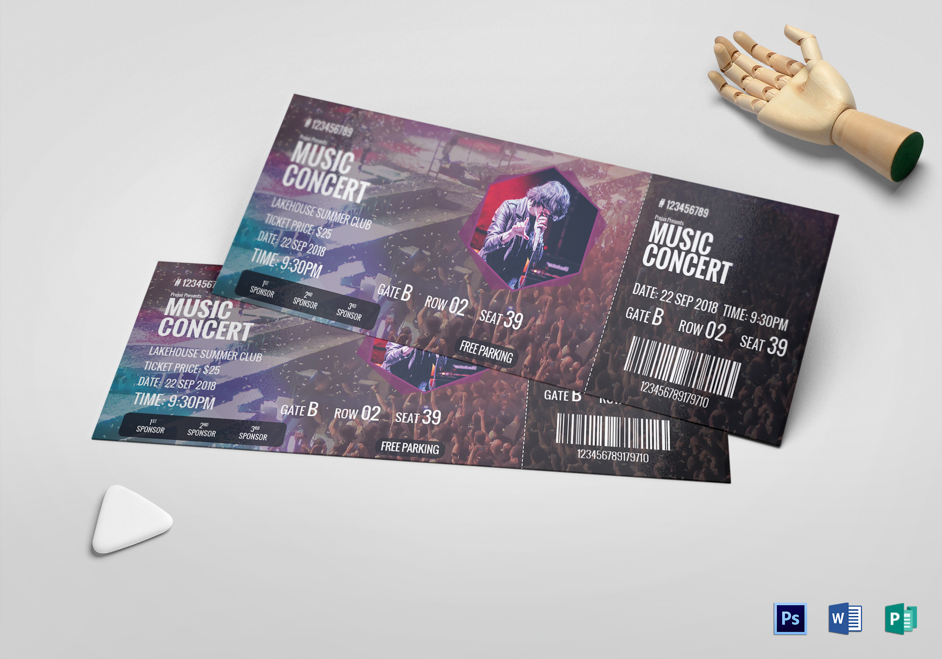 Music Concert Ticket Design Template In PSD Word Publisher Pages