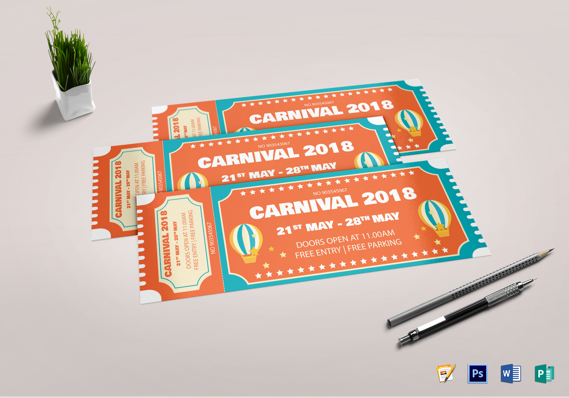 Carnival Event Ticket Design Template In PSD Word Publisher Pages - Event ticket template photoshop