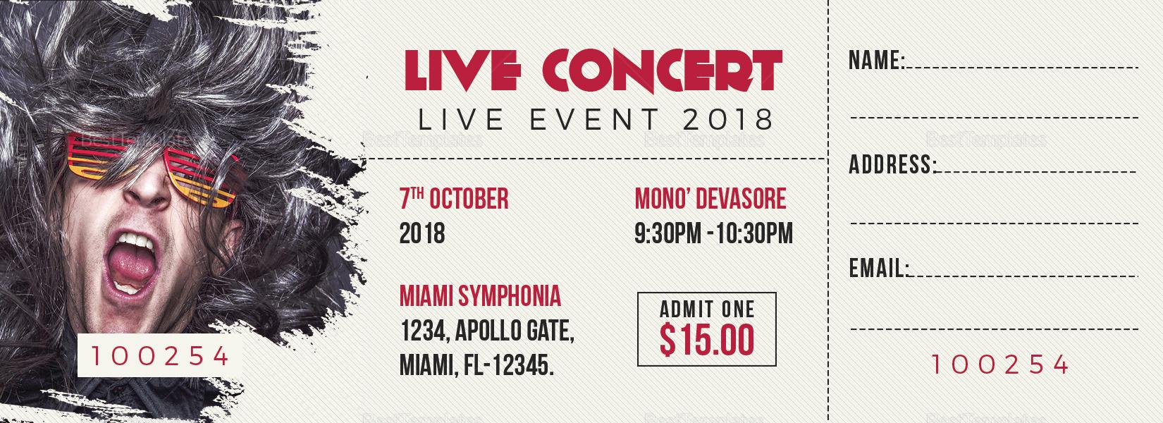 concert ticket design template