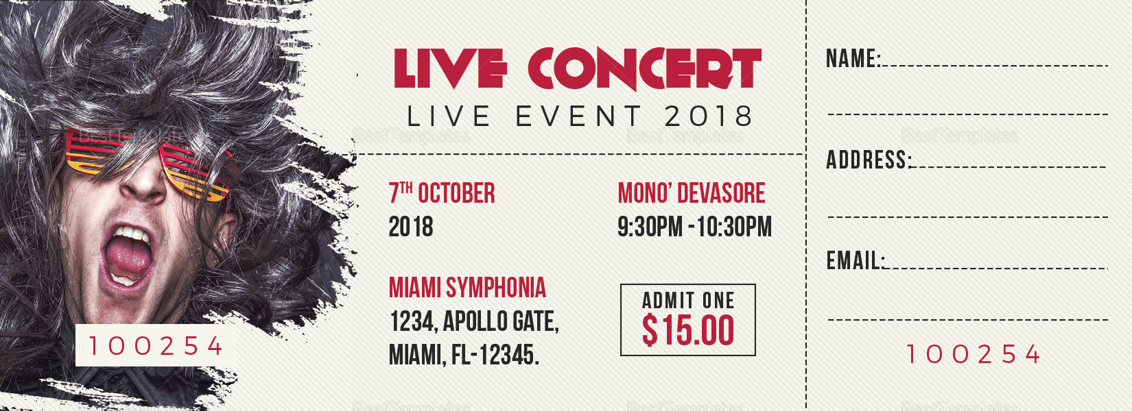 Live Concert Ticket Design Template