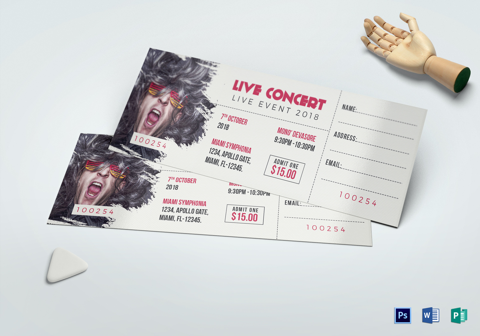 live concert ticket design template in word psd pages publisher. Black Bedroom Furniture Sets. Home Design Ideas