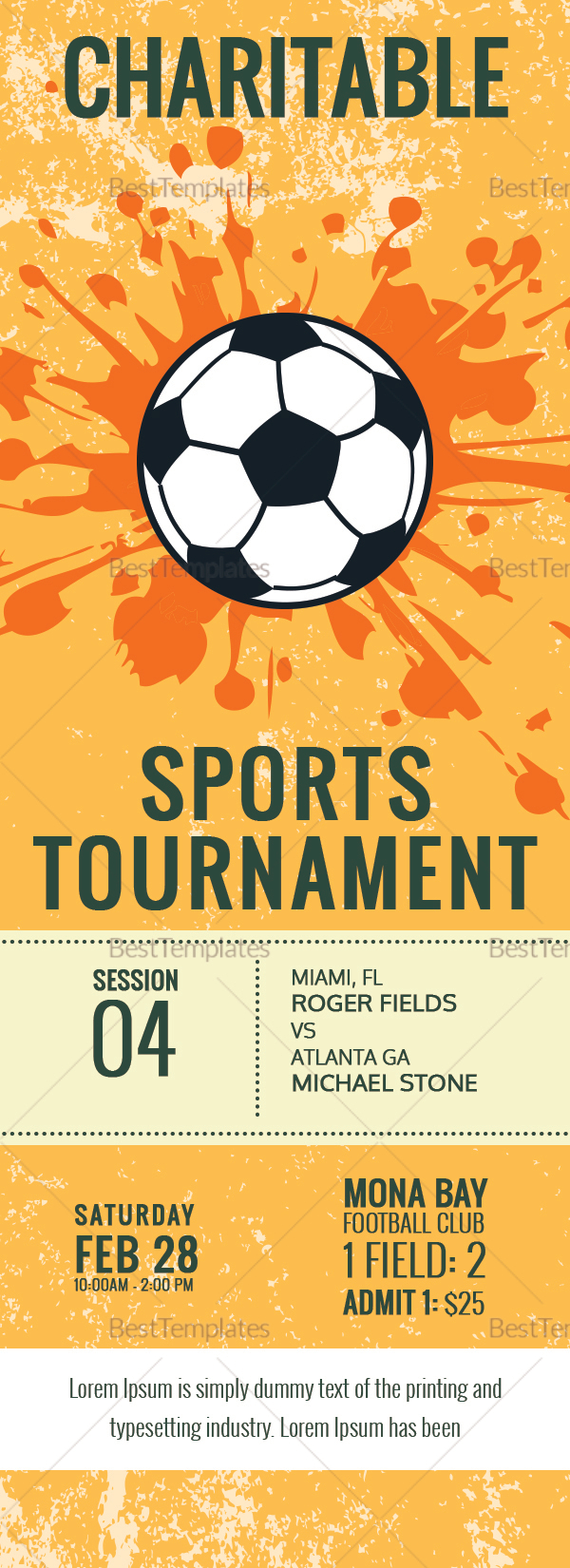 Football Tournament Ticket Design Template