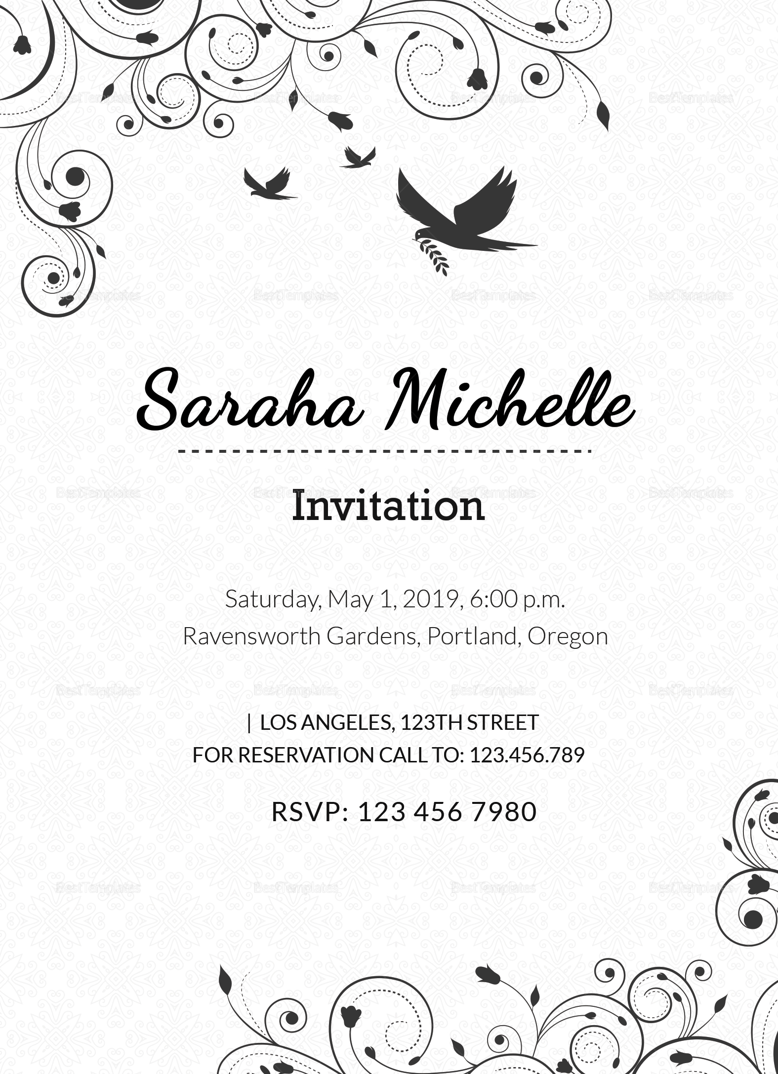 Ornamental debut invitation design template in word psd publisher ornamental debut invitation template ornamental debut invitation design template stopboris Images