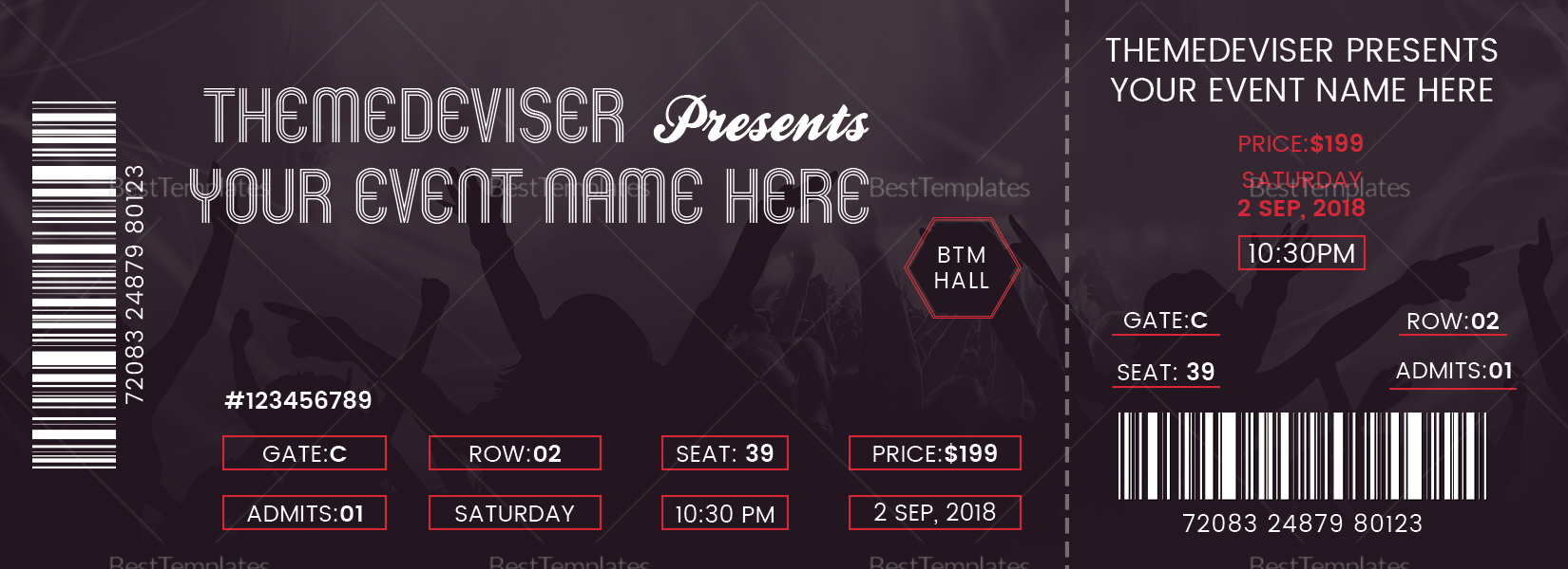 sample concert ticket design template in psd word publisher pages. Black Bedroom Furniture Sets. Home Design Ideas