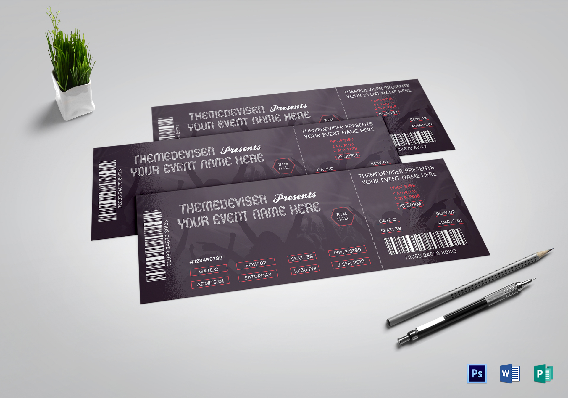 sample concert ticket design template in psd word publisher pages