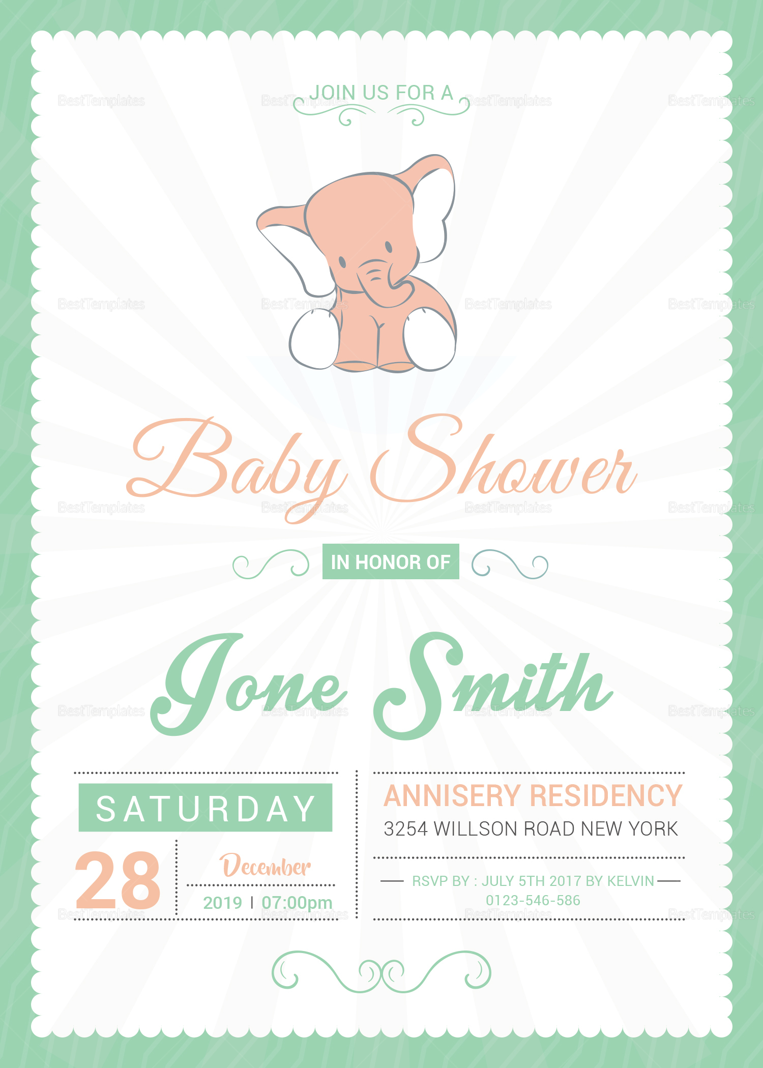 Baby Shower Announcement Invitation Design Template