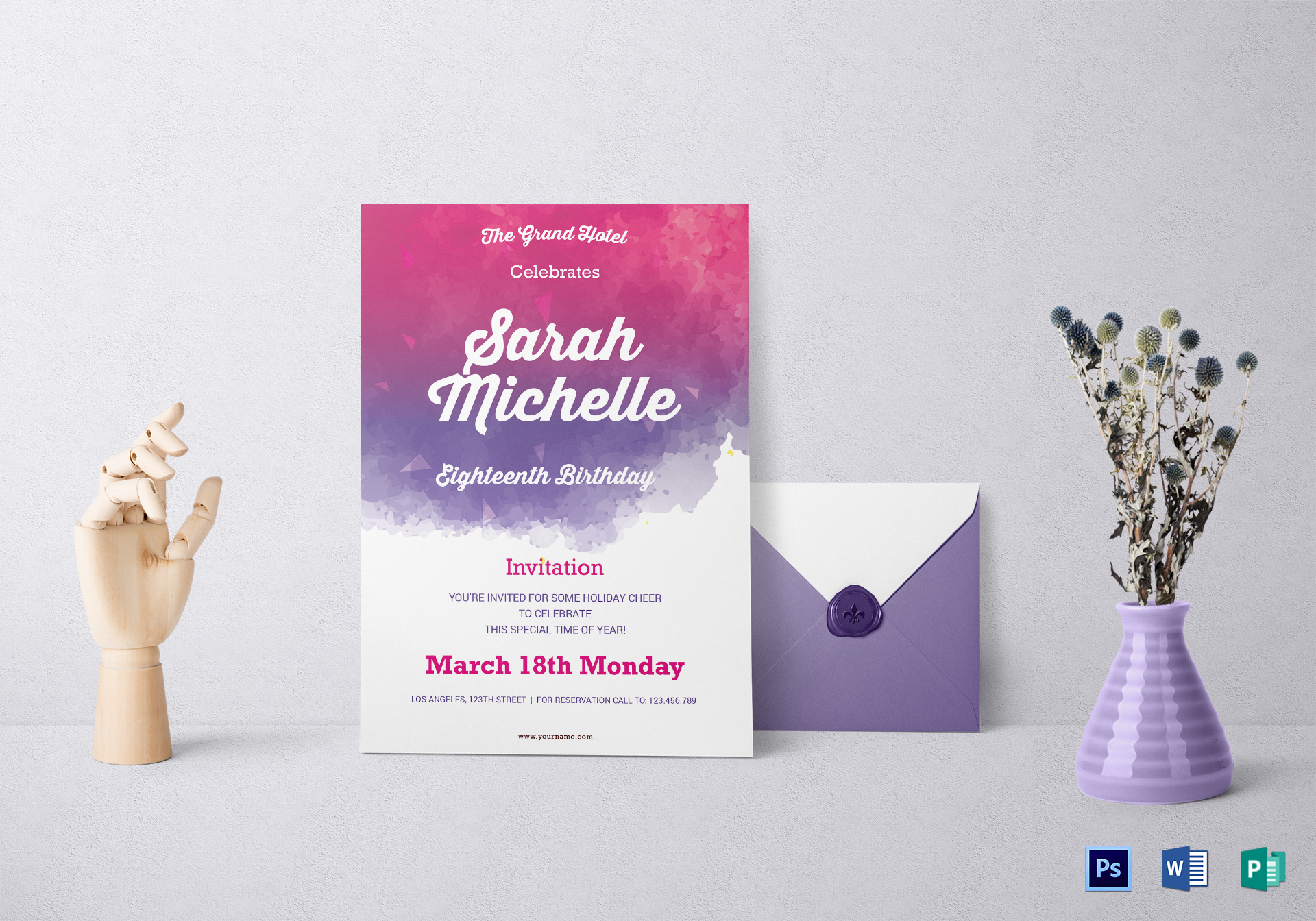Watercolor debut invitation design template in word psd publisher watercolor debut invitation template stopboris Images