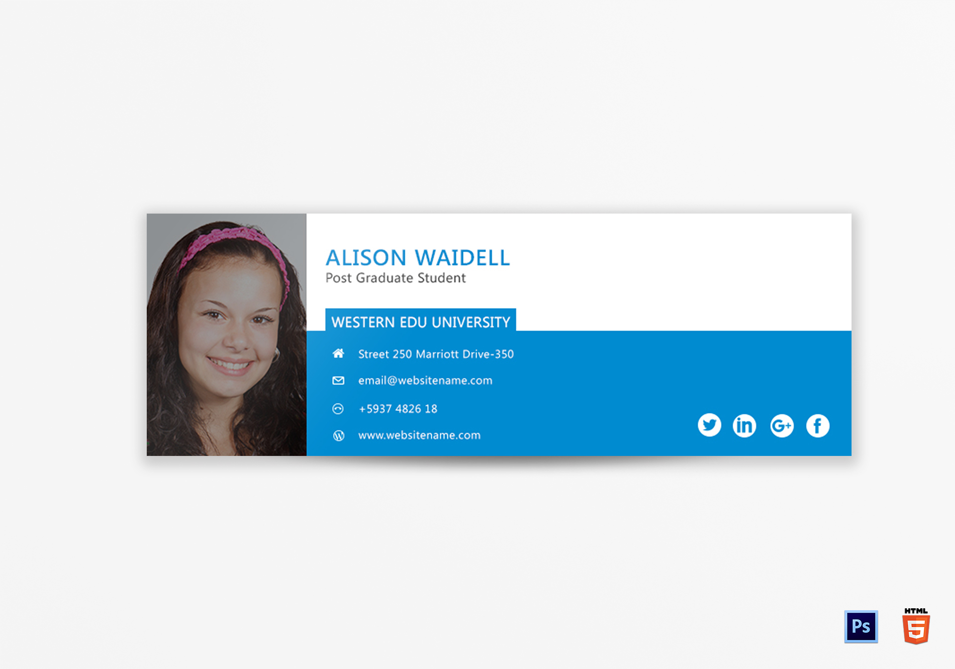 Postgraduate Student Email Signature Design Template in PSD, HTML