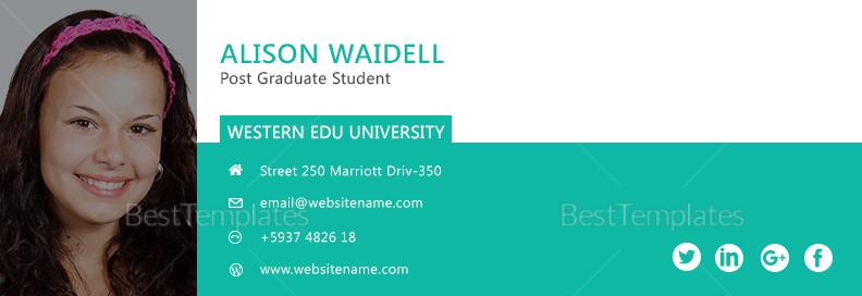 Postgraduate Student Email Signature Template 1