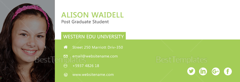 Postgraduate Student Email Signature greenTemplate