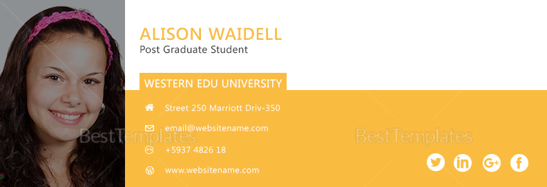 Postgraduate Student Email Signature yellow Template