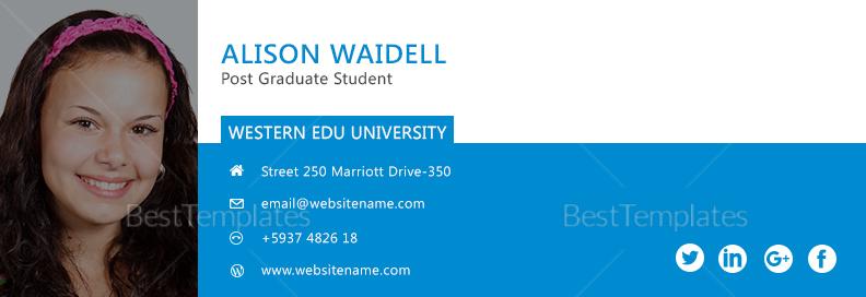 Postgraduate Student Email Signature Design Template
