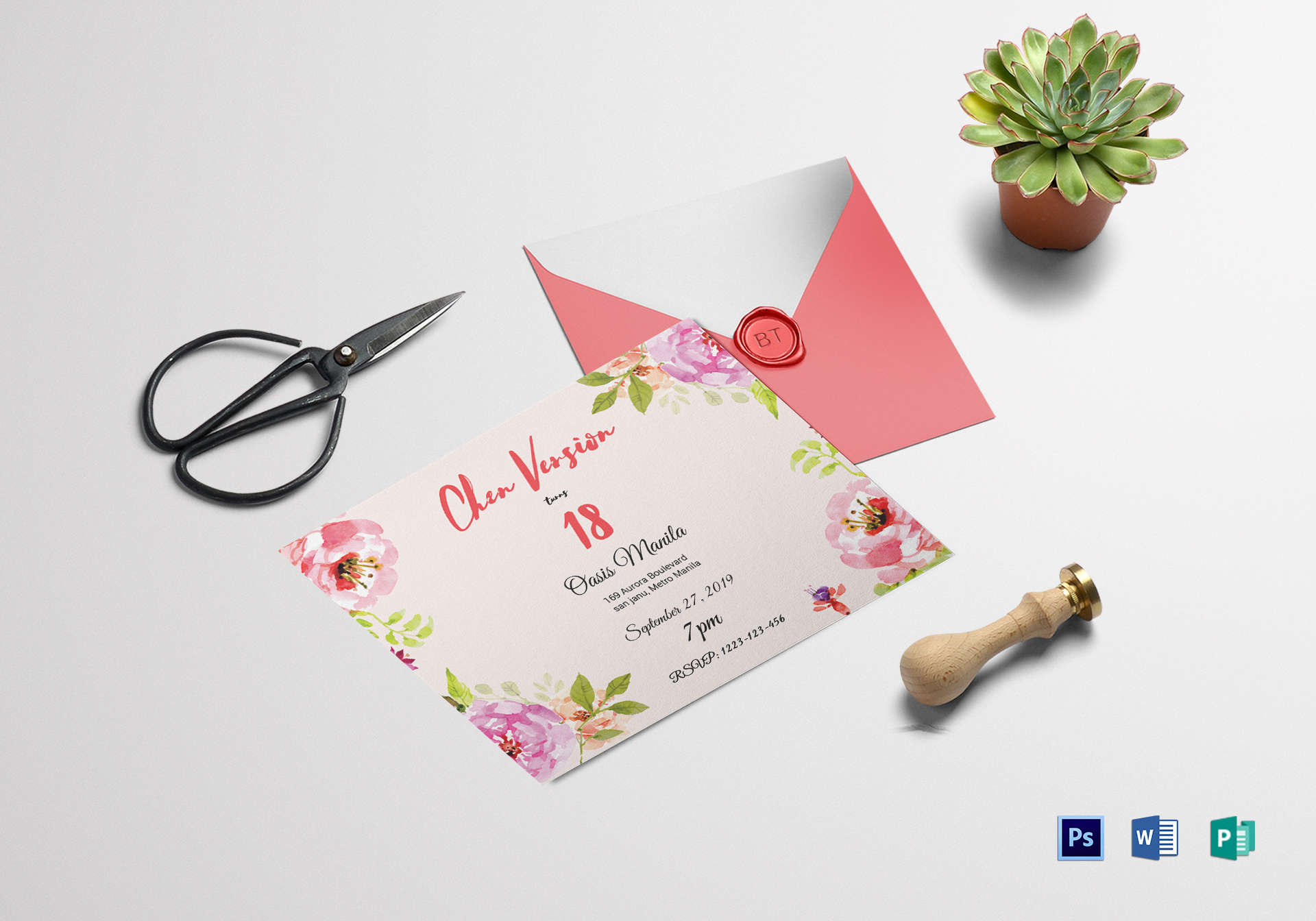 floral debut invitation design template in word psd publisher