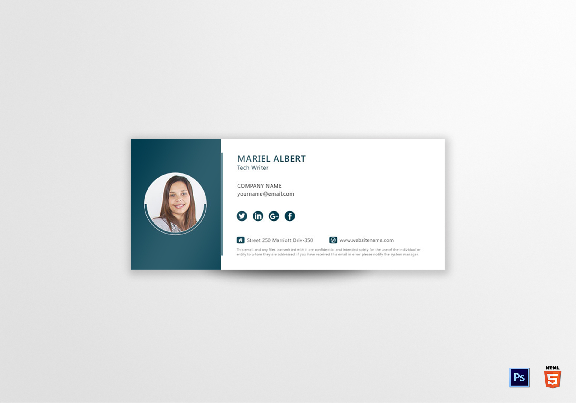 Technical Writer Email Signature Design Template In Psd Html