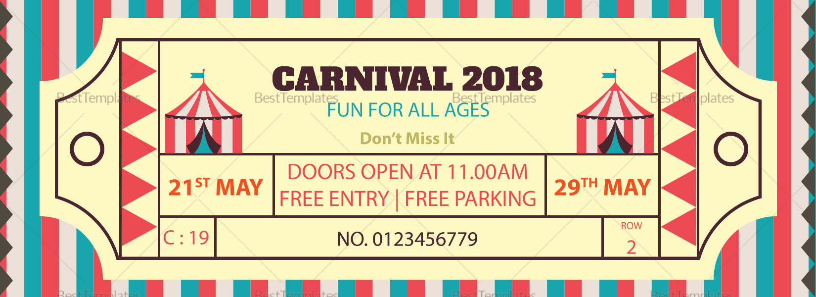 simple carnival ticket design template in word psd pages publisher. Black Bedroom Furniture Sets. Home Design Ideas