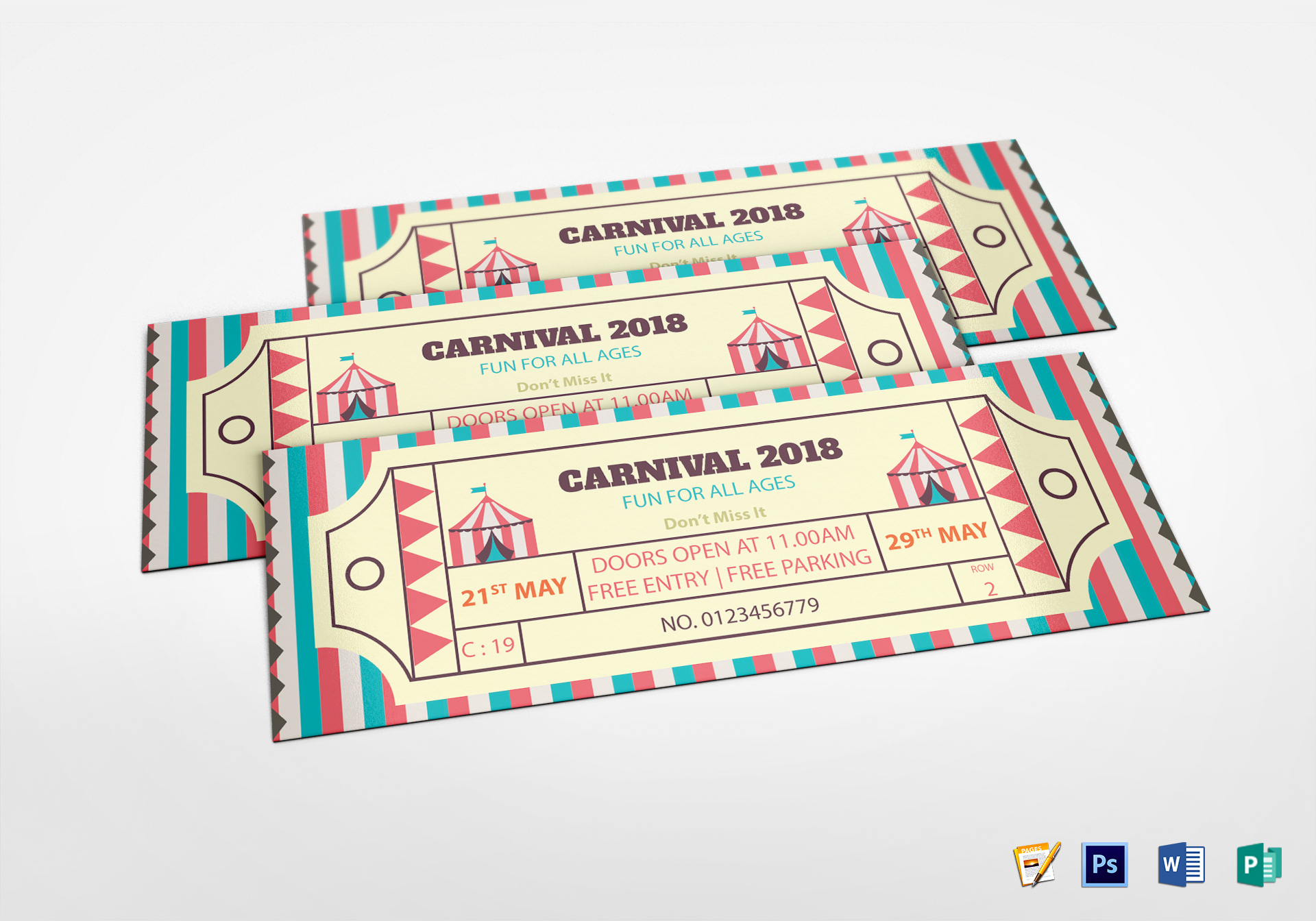 simple carnival ticket design template in word psd pages publisher