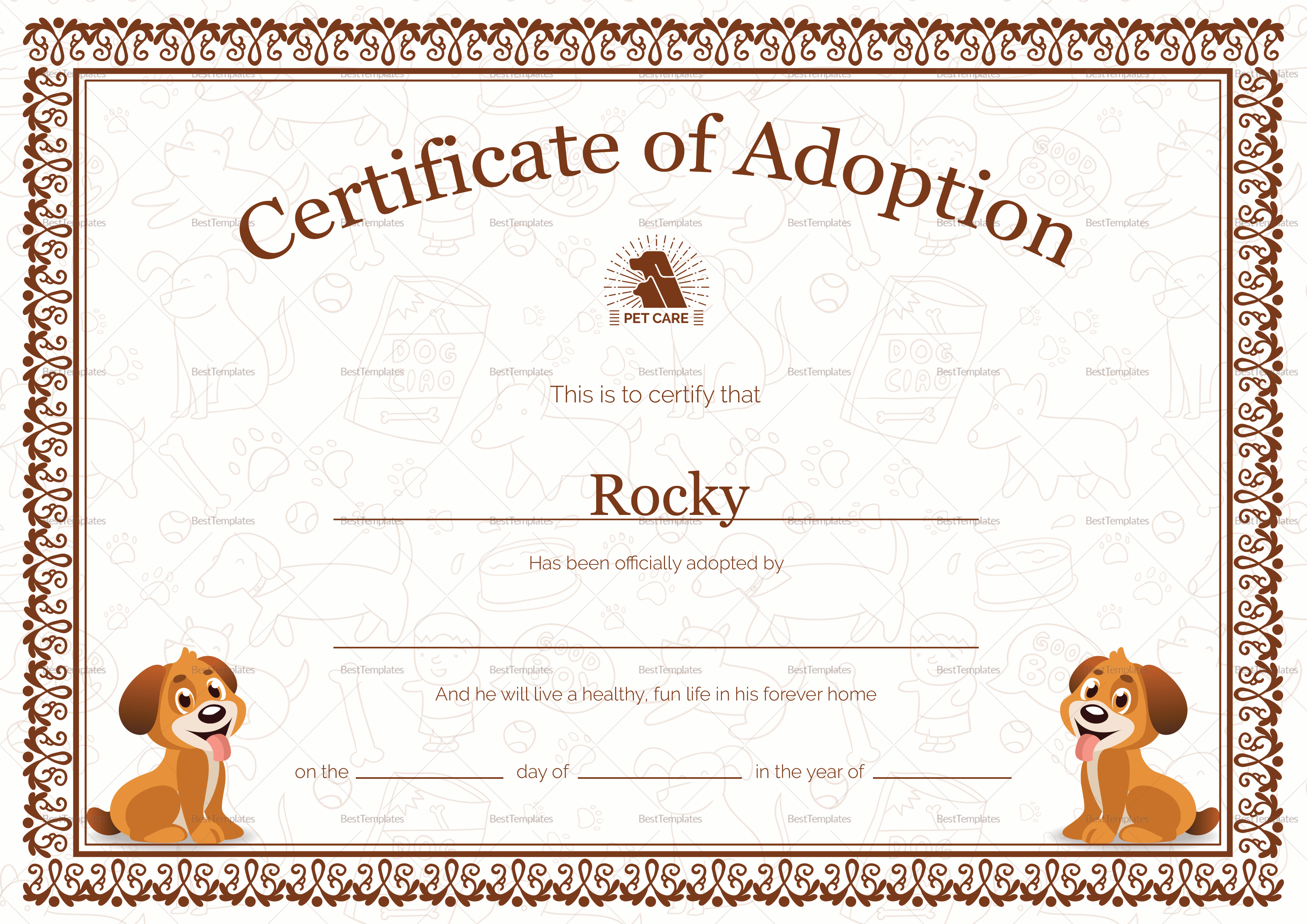 Pet Adoption Certificate Design Template in PSD, Word