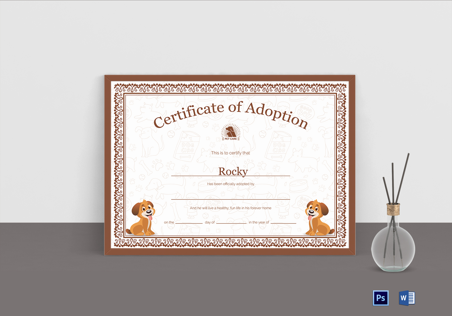 Pet adoption certificate design template in psd word for Adoption certificate template
