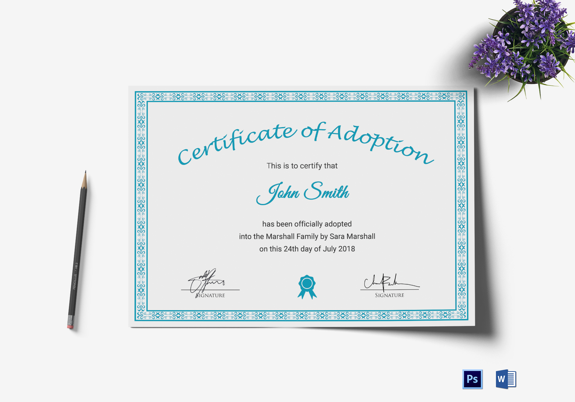 printable adoption certificate design template in psd word