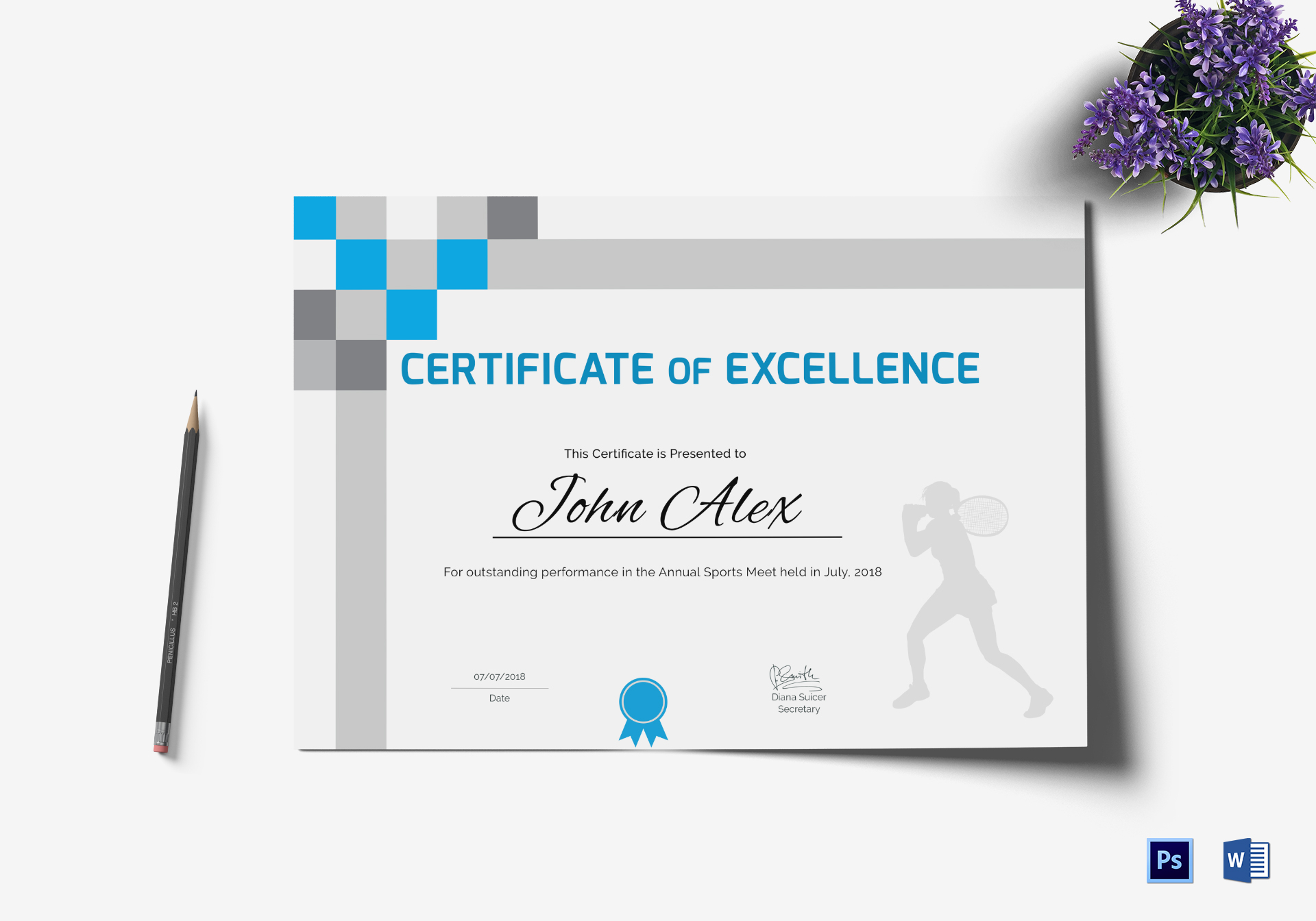 Athletic Excellence  Certificate Template