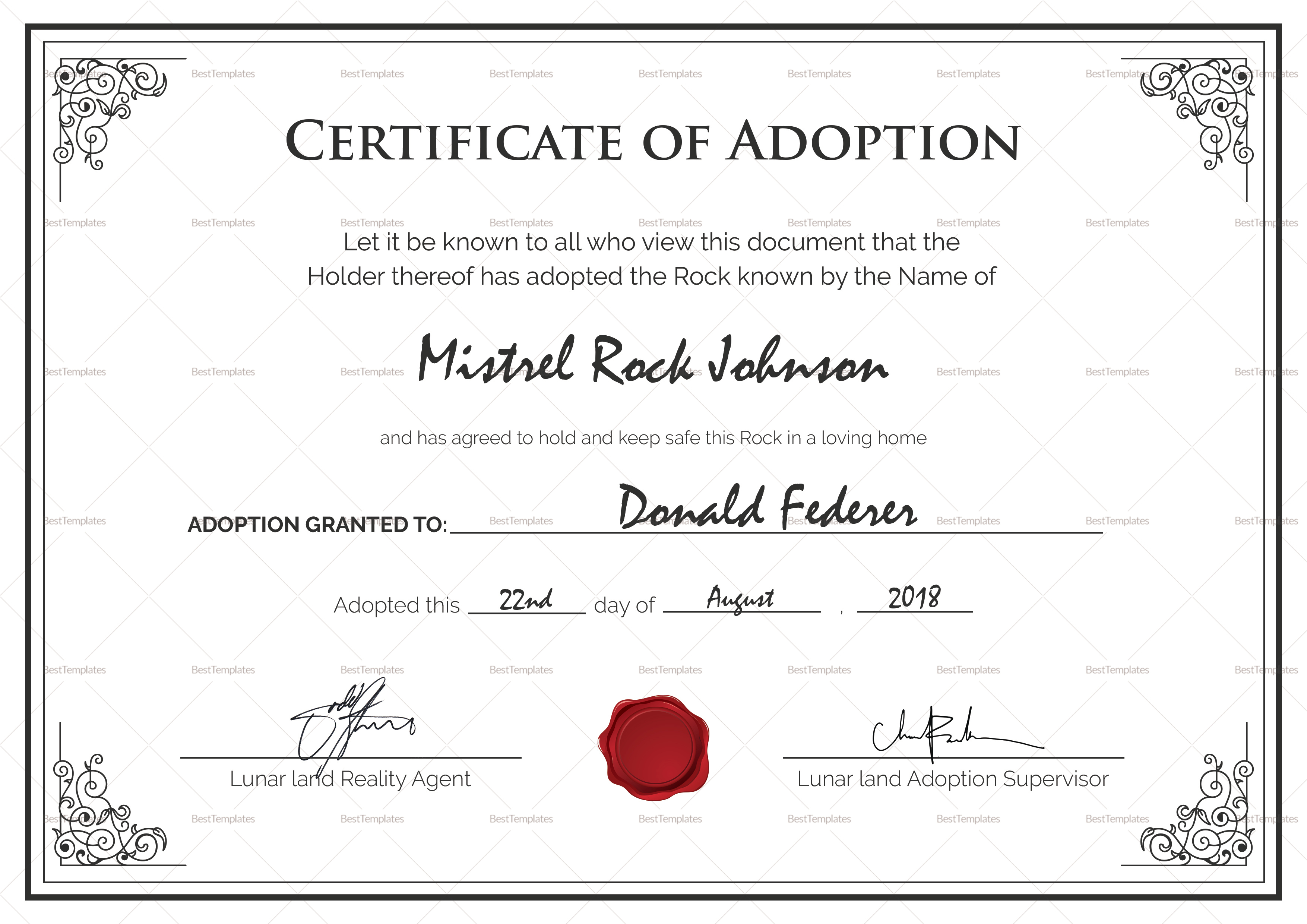 Adoption Birth Certificate Design Template In Psd Word