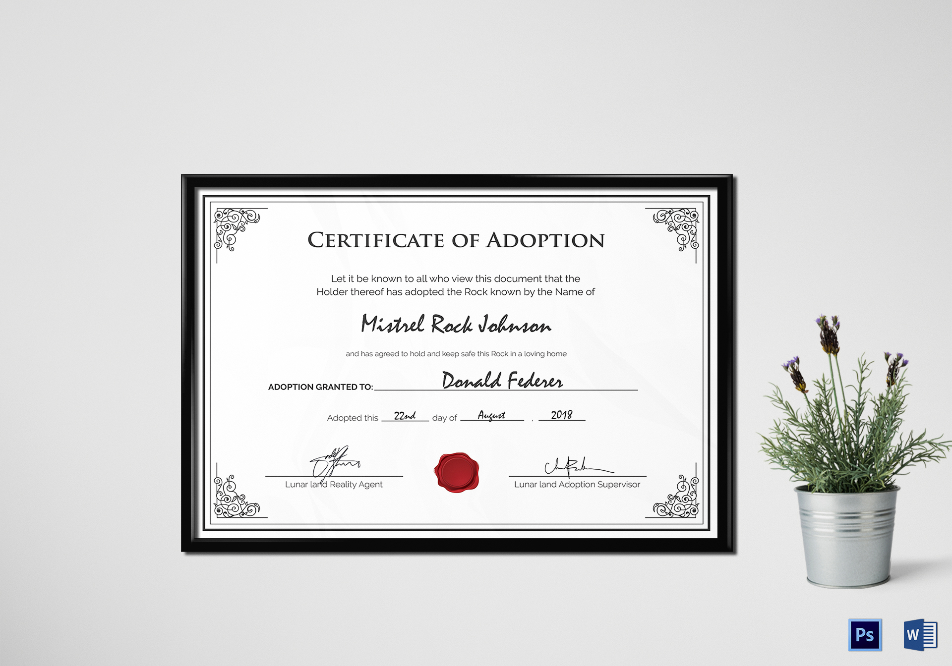Adoption Birth Certificate Design Template In Psd Word