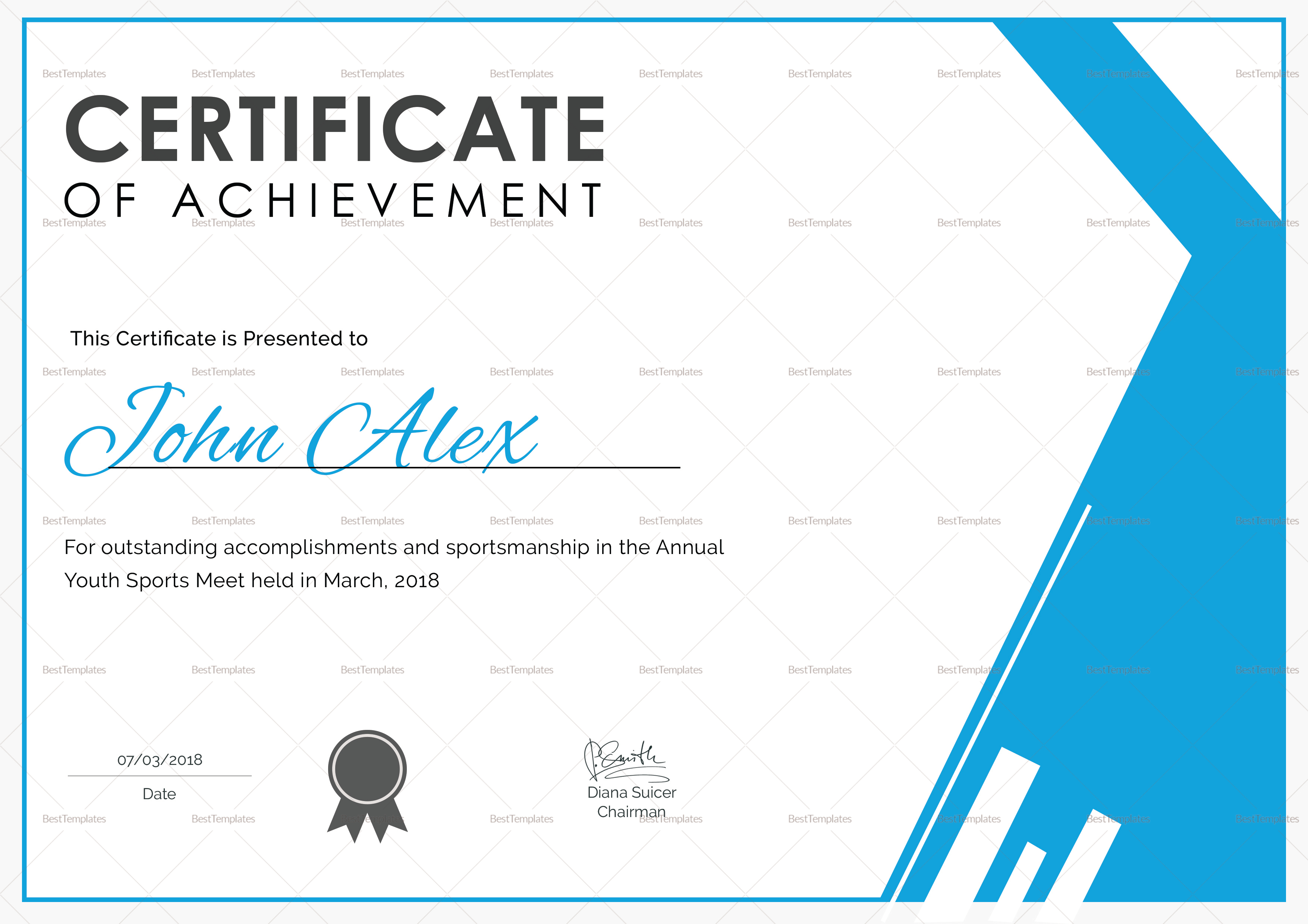 Athletic Achievement Certificate Design Template