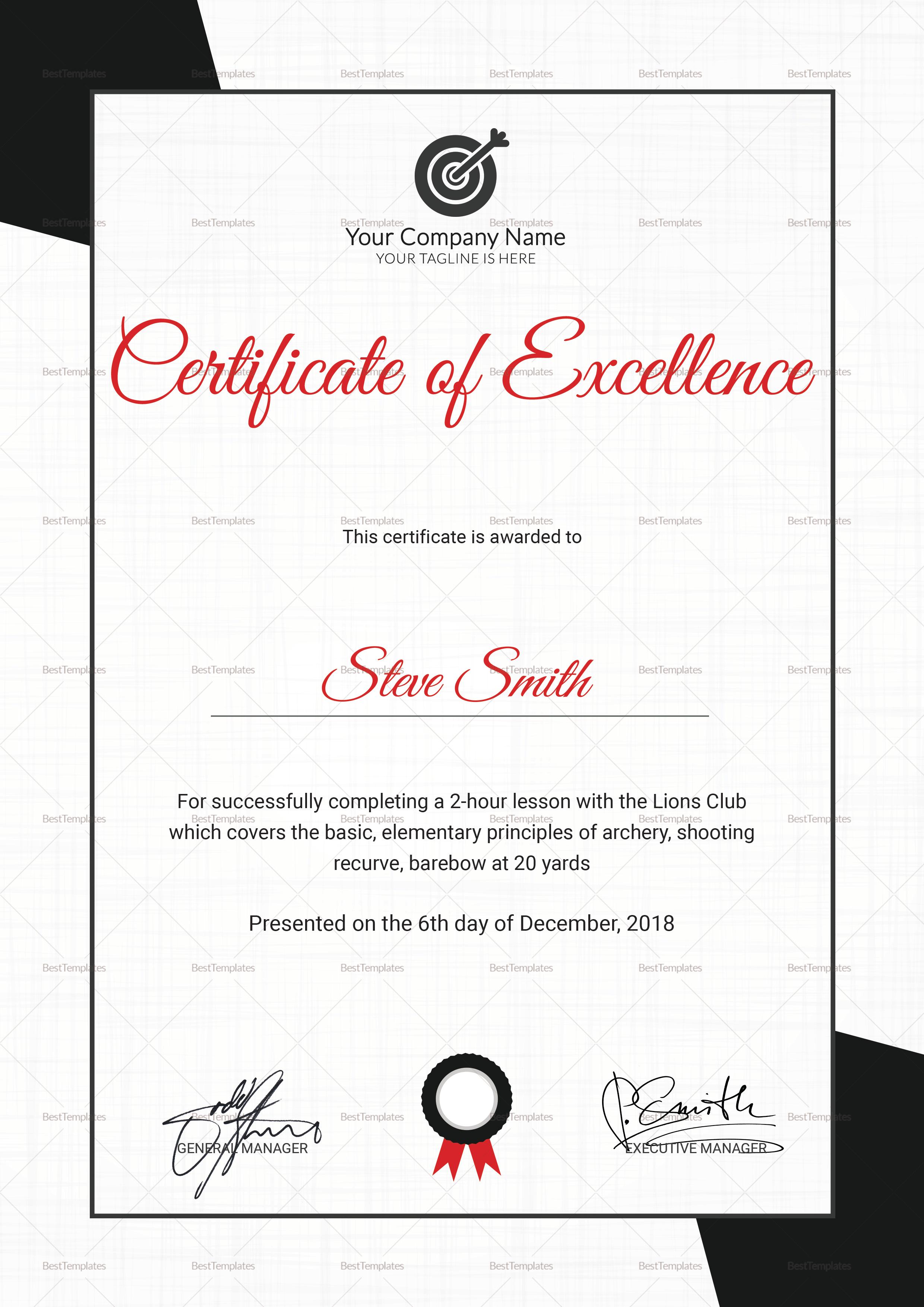 Archery Execellence Certificate Template