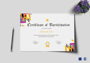 Badminton certificate designs templates in word psd badminton participation certificate template yadclub Images