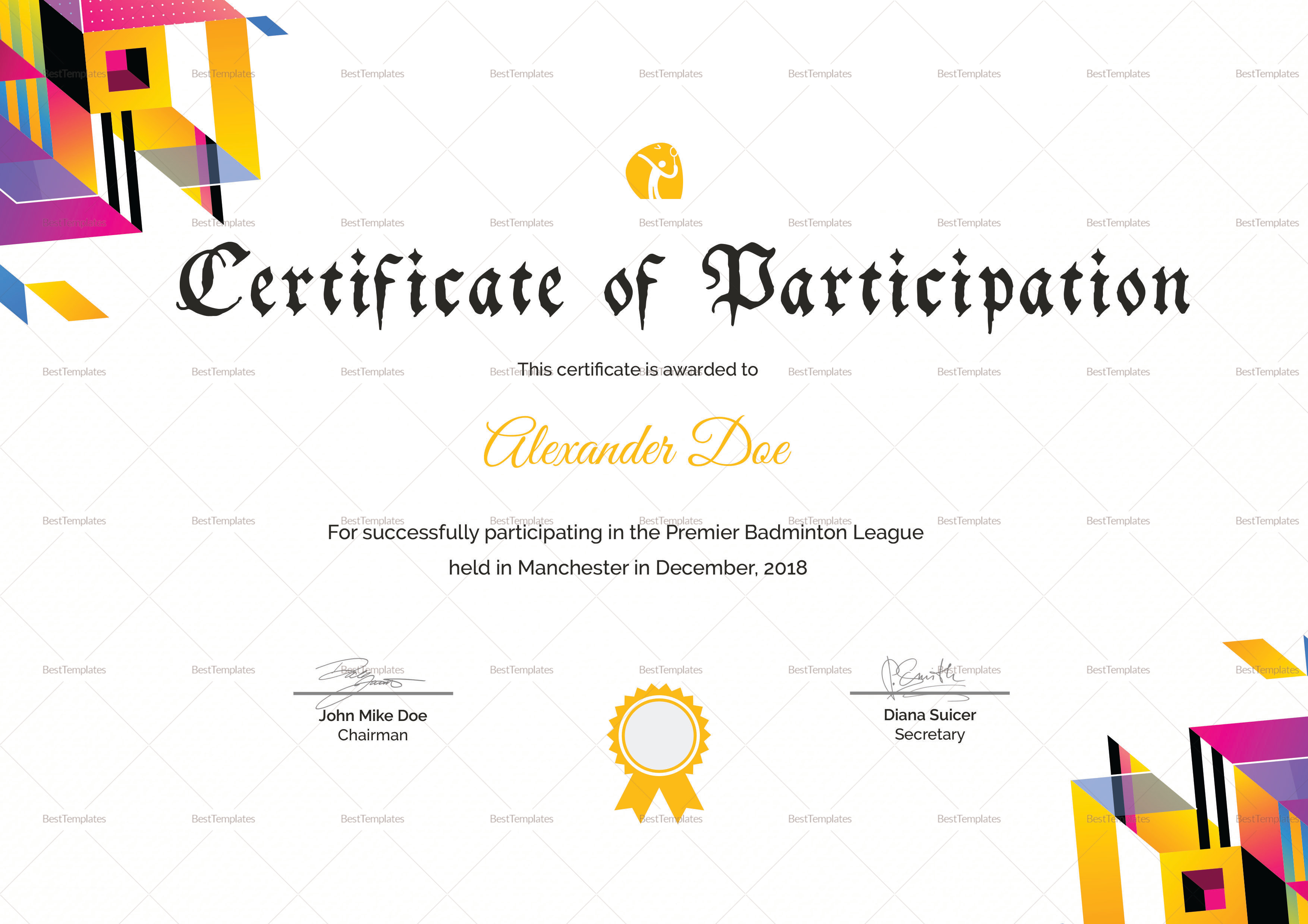 Badminton participation certificate design template in word psd badminton participation certificate badminton participation certificate template yadclub Image collections