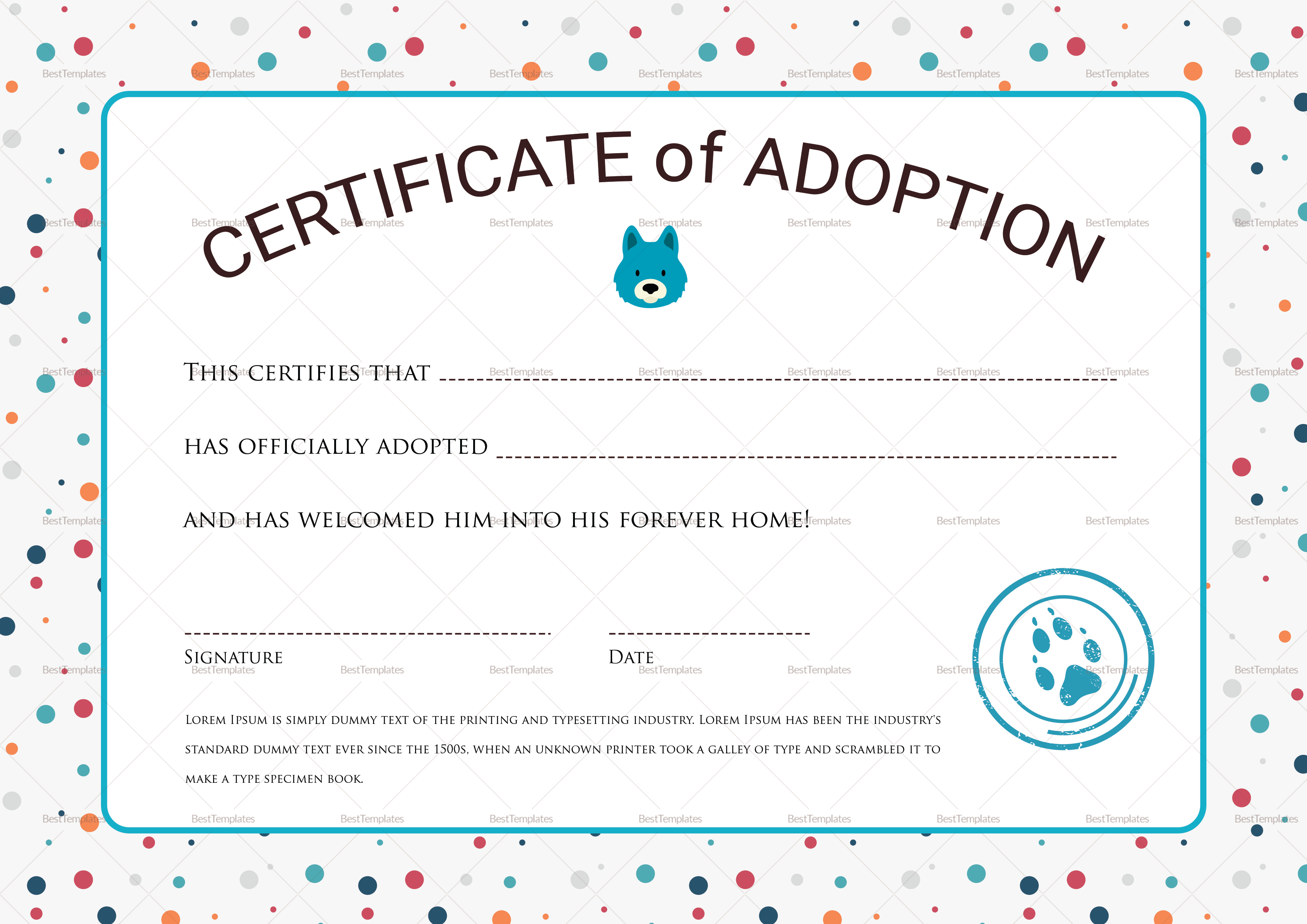 Certificate Of Adoption Design Template In Psd Word
