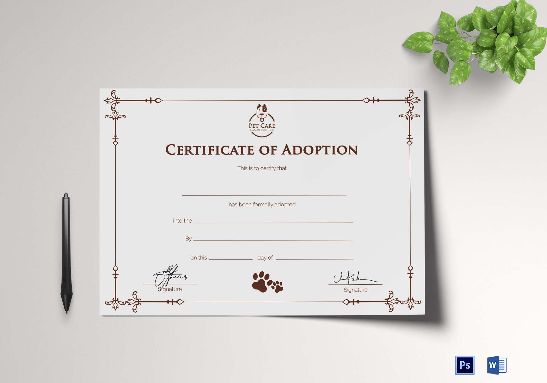 Simple adoption certificate design template in psd word sample adoption certificate sample adoption certificate template yelopaper Images