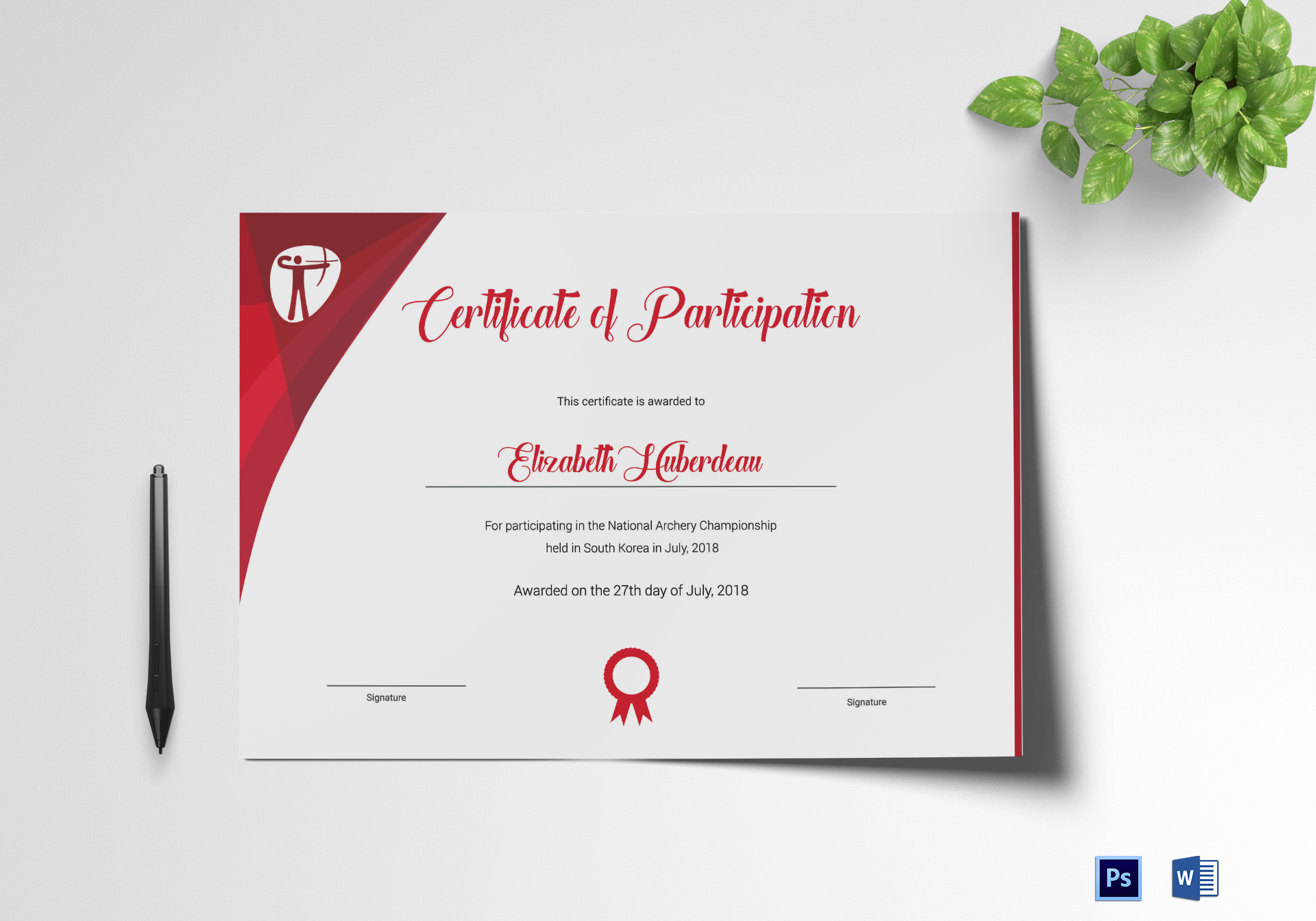 archery participation certificate design template in psd word