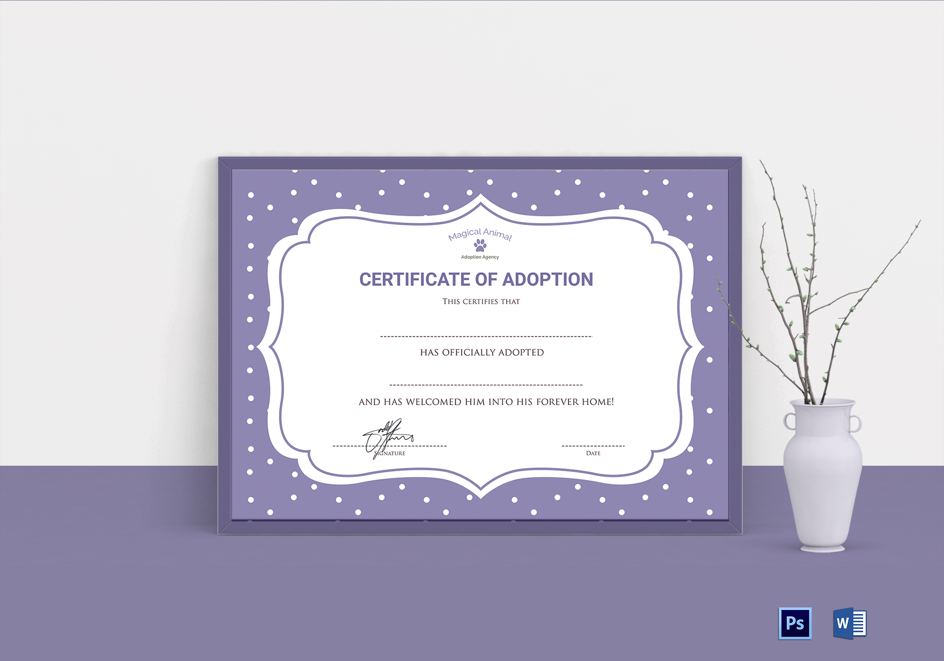 Official Adoption Certificate Design Template In Psd Word