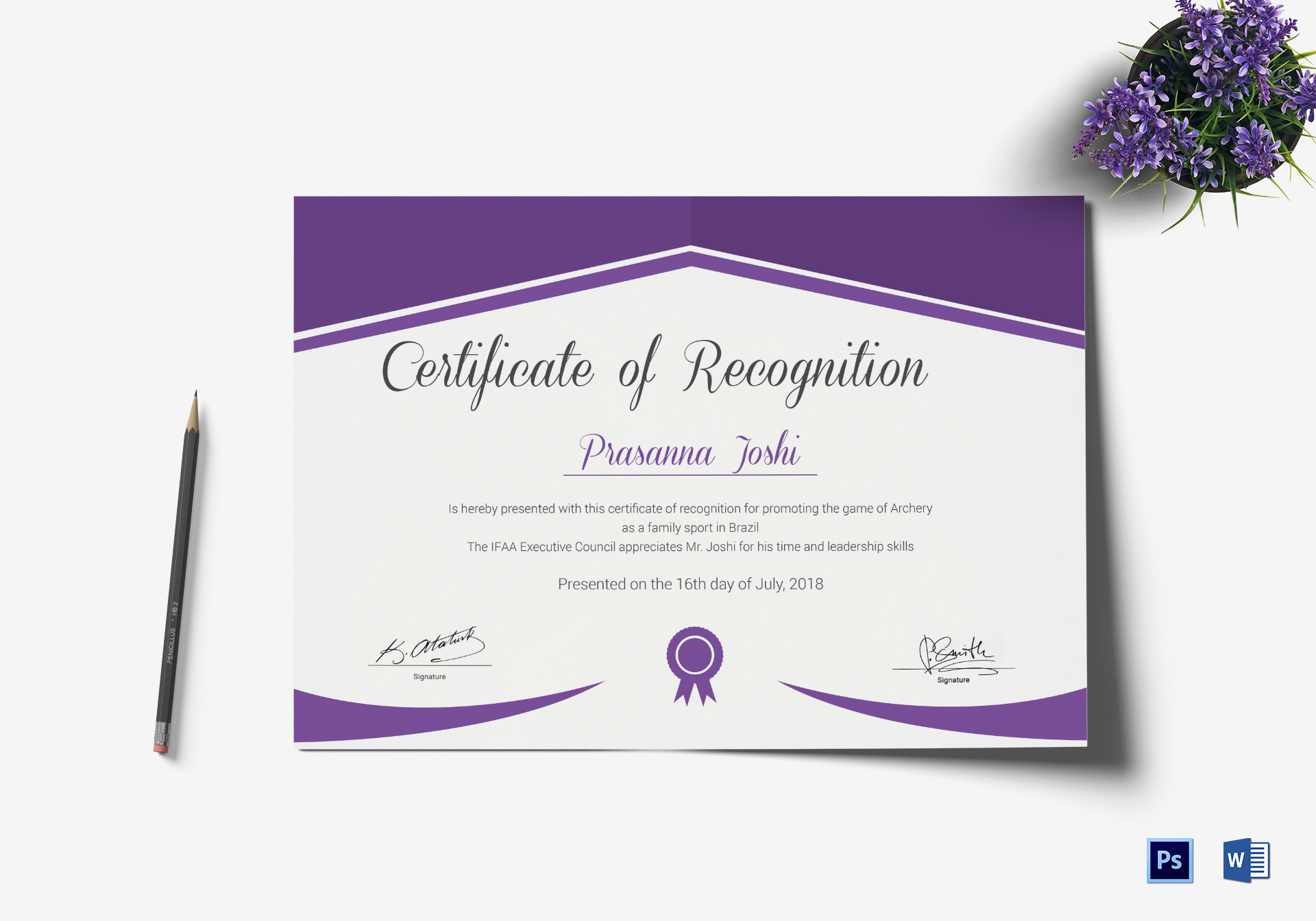 Archery Recognition Certificate Template
