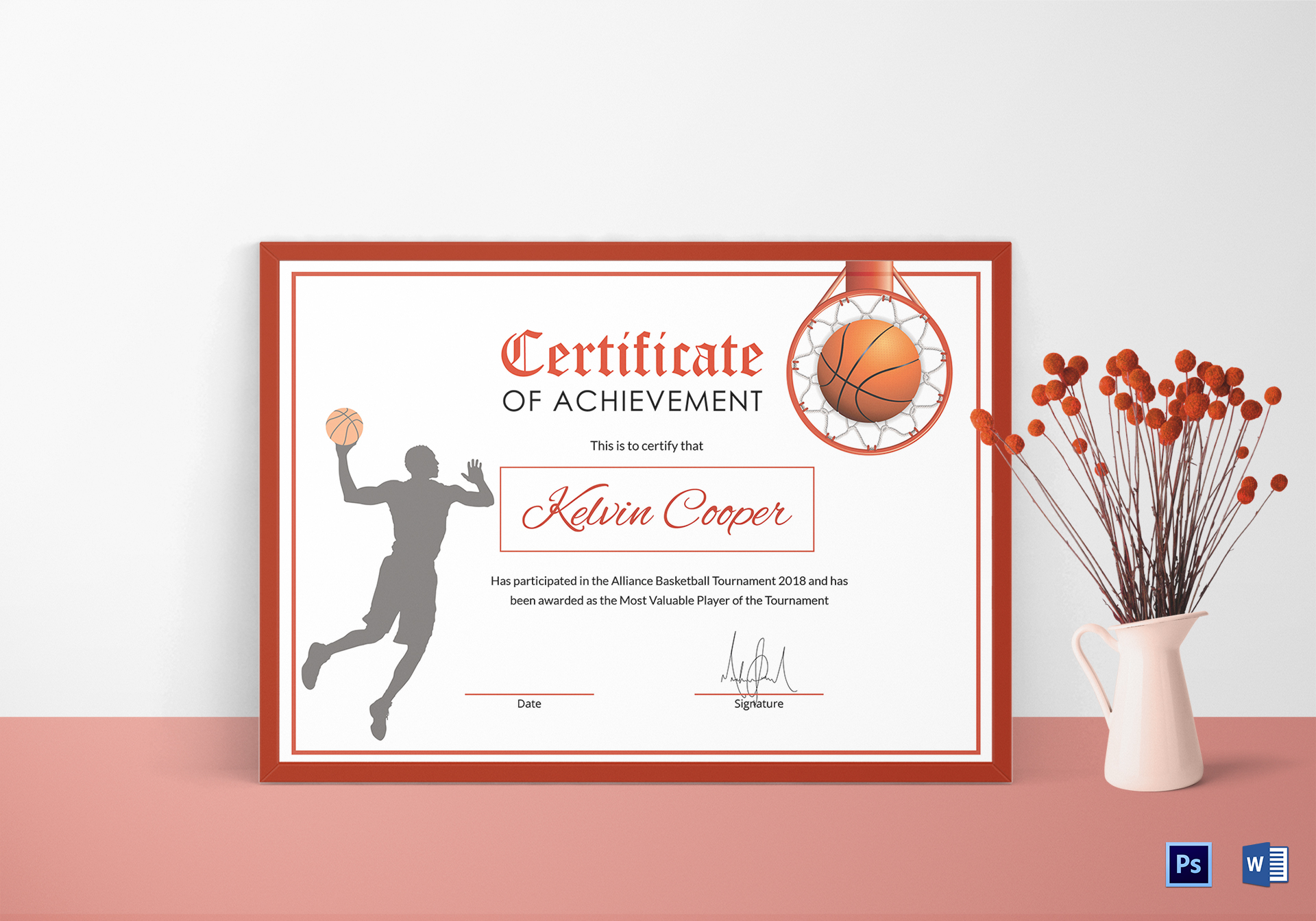 Basketball award achievement certificate design template in word psd basketball award achievement certificate yelopaper Images