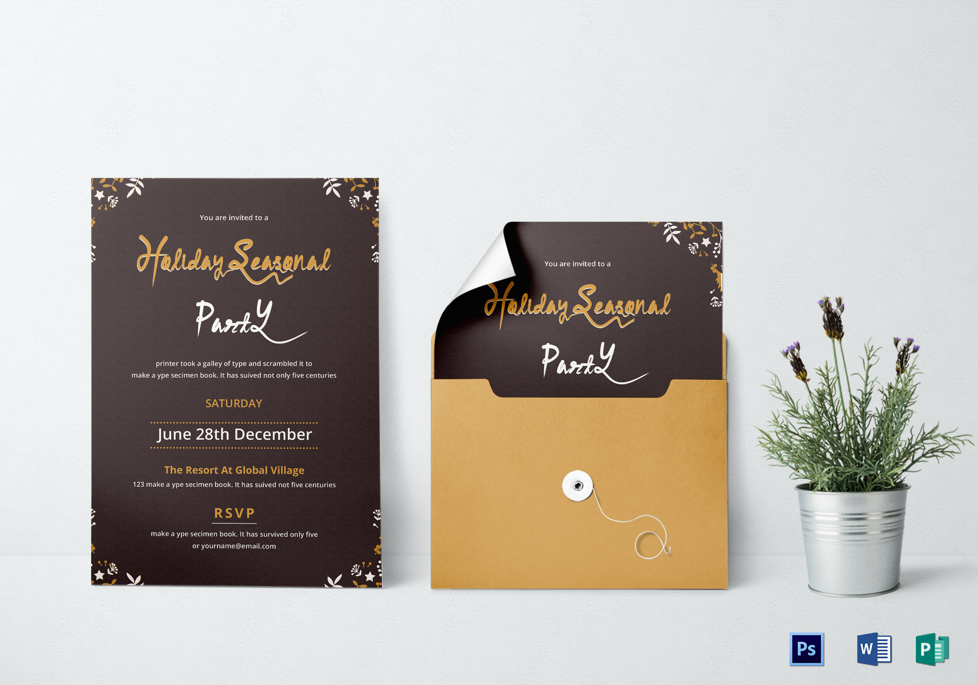 Beautiful Holiday Party Invitation Design Template In Psd Word